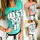 Women Ladies Summer Print Casual Short Sleeve T-shirt Crew Neck Tee Top Blouse