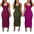 Laides Summer Fashion Solid Color Sexy Slim Bodycon Dress Package Hip Sleeveless