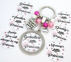 S.KEYRING - Pink.... Little Princess Stars/Back+crown,Grandma's, Daddy's,Mummy's