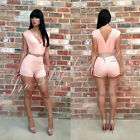 Pink Deep V-neck Polyester Short Sleeve Sexy One-piece Jumpsuit Bodycon Bandage