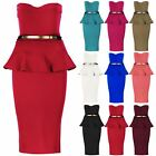 New Sleeveless Womens Ladies Frill Boobtube Gold Belt Bandeau Midi Bodycon Dress