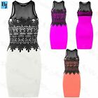 Womens New Sleeveless Contrast Ladies Mesh Lace Detail Insert Bodycon Mini Dress