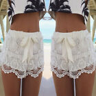 UK 6-22 Womens Celeb Boho Festival Summer Crochet Lace Bow Mini Shorts Hotpants