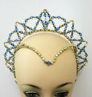 Mid Blue & Gold Beaded Juliet Halo Tiara Ballet Dance Eisteddfod Headpiece Crown