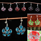 Wholesale Crystal Rhinestone Floral Flower Hook Dangle Ear Earrings Jewelry