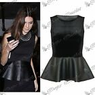 Womens Ladies Casual Sleeveless Velvet PVC Skater Flared Peplum Mini Dress Top