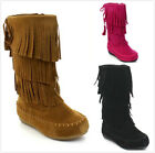 Brand New Toddler Girl's Fashion Mid Calf 3 Layer Fringe Moccasin Boots Shoes