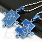 1 Set Boy Girl Lovers Stainless Steel Blue Jigsaw Puzzle Pendants Necklaces M19