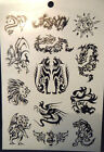 1x SHEET BLACK UNISEX ARTY CELTIC SUN TRIBAL BANDS 9 DESIGNS TEMPORARY TATTOOS