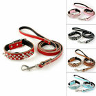 Spiked Studded Leather Pet Dog Collar With D Ring Collar&Leash Set  10-18''S M L