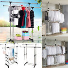 Double Rail Adjustable Portable Clothes Display Hanger Rolling Rack With Wheels
