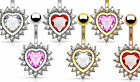 1pc Heart CZ Gems Pierced Belly Navel Naval Ring Body Jewelry Gold Rose Gold