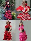 New Girls Spanish Flamenco Dance Dress Red & Pink Age 2,4,6,8,10,12,14 Polka Dot