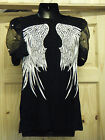 LADIES ANGEL WINGED GOTH BIKERS PUFFY NET SLEEVES TOP BLOUSE T-SHIRT BLACK WHITE