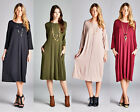Womens Dolman Top Boatneck 3/4 Sleeve Tunic Long Dress T-Shirt USA S M L XL Plus