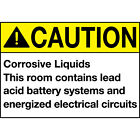Caution Corrosive Liquids Room Contains Acid Battery Aluminum Metal Sign