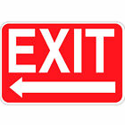 Exit Sign With Left Arrow Red Background Osha Metal Aluminum Sign $38.99 USD