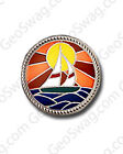 Sail Boat Scene Geocaching Pin Badge - Gold Or Silver Finish Available