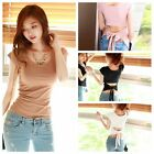 Stylish Women's Solid Short Sleeve T-Shirts Casual U-neck Bowknot Tops Blouse