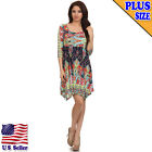 (Plus Size) Printed Knee Length Asymmetric Hem Dress D373 PRT 3-X_M
