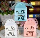 50x BABY SHOWER Pram Favour Boxes Christening Thank You Laser Cut Bomboniere