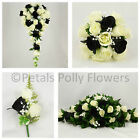Silk Wedding Flowers by Petals Polly, BOUQUET POSY BUTTONHOLES in BLACK IVORY