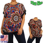 (Plus Size) Blouse Mandala Paisley Print Kimono sleeve Scoop Neck Top QT432_F