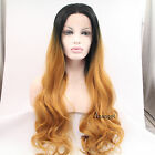 Black Roots Heat Resistant Lace Front Wig Synthetic Wavy Long Ombre Blonde Hair