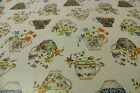Colourful Fine China Cotton Back Oilcloth Easy Wipe Clean Tablecloth 140cm Wide