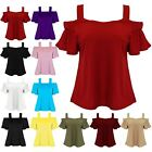 Womens Party Strappy Off Cold Shoulder Bardot Top Ladies Bell Sleeve Swing Top