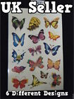 1x SHEET GIRLS LADIES TEMPORARY TATTOOS COLOURFUL BUTTERFLIES INSECTS FLOWERS