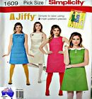 Simplicity Sewing Pattern 1609 Jiffy 60's Retro A Line Dress Pick Size
