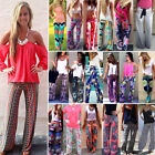 Lady Boho Aladdin Cool Floral Wide Leg Long Stretch Pants Loose Palazzo Trousers