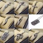 Men Dragon Cross Pendant Necklace Stainless Steel Dog Tag Ch