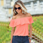Summer Womens Sexy Off Shoulder Chiffon Tops T-shirt Casual Beach Loose Blouse