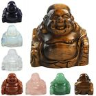 Crystal Quartz Gemstone Smile Happy Laughing Buddha Figurines Statue Feng Shui