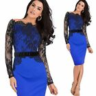 Off Shoulder Floral Lace Sexy Women Bodycon Pencil Dress Evening Party Ball Prom