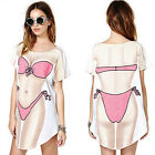 Lady Funny Fashion Bikini Printed Crew Neck Short Sleeve Tops Tee T Shirt Dress