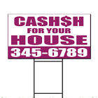 Cash For Your House Phone Custom Corrugated Plastic Yard Sign /Free Stakes