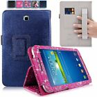 For Samsung Galaxy Tab 3 7 inch P3200 Hand Strap PU Leather Card Slot Stand Case