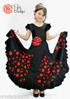 New Girls Spanish Flamenco Dance Skirt, Black & Red Polka Dot 6, 8,10, 12 Years