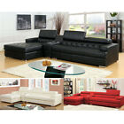 Floria L-Shaped Sectional Sofa Bonded Leather Lift Headrest Console Bluetooth