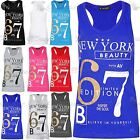 New Ladies NEWYORK BEAUTY 67 Vest Bodycon Racer Back Muscle Vest Womens Gym Top