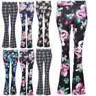 Womens Bell Bottom Disco Franki Slim Fit Pants Ladies Flared Legging Trousers