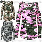 Womens Army Camo Curved Hem Top Ladies Cold Cut Out Shoulder Keyhole Back TShirt