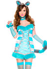 Womens adult blue Cheshire cat tail dress costume