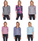 fashion womens casual 3/4 sleeve button plaid cotton checks button down shirt