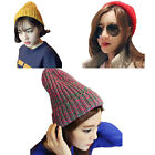 Girls Womens Knit Pointy Top Beanie Hat Ski Snow Winter Knitting