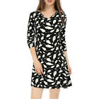 Allegra K Women V Neck Long Sleeves Feather Print Mini Dress