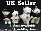 SET OF 2 SMALL MEDIUM JOINTED WEDDING BRIDE & GROOM SET TEDDY BEARSCAKE TOPPER